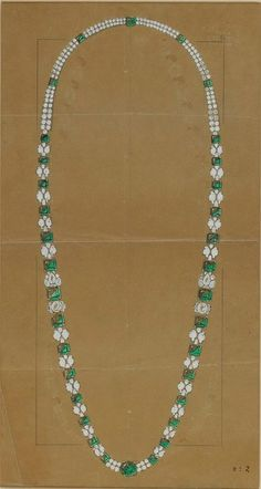 CARTIER. Study for and Important Emerald & diamond necklace, Modern style. © Sotheby's