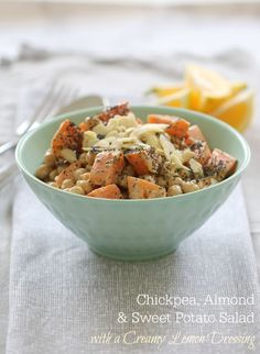 Healthy Chickpea, Almond & Sweet Potato Salad with a Creamy Lemon Dressing. The most delicious, full of flavour sweet potato salad that's sure to be a winner! Lunch Box Recipes, Veggie Recipes, Salad Recipes, Dinner Recipes, Cooking Recipes, Healthy Recipes, Meal Recipes, Healthy Salads, Yummy Recipes