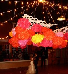 Tons of tissue pom poms over the dance floor! Tissue Pom Poms, Tissue Paper, Trending Outfits, Unique Jewelry, Handmade Gifts, Floor, Dance, Wedding, Etsy