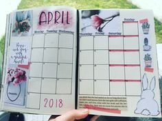 April 2018 monthly spread for bullet journal