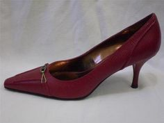 Etienne Aigner Pumps Faux Snake Lizard Metal Logo Fob Red Leather Heels 7.5 M