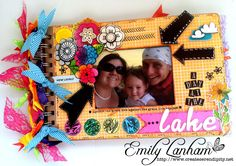 A Day At The Lake mini album made with Amy Tangerine papers from #AmericanCrafts and Against the Grain stamp set from #SweetStampShop