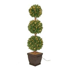Holiday Living Indoor/Outdoor Pre-Lit Triple Ball Topiary Artificial Christmas Tree with Clear Incandescent Lights Topiary Decor, Seasonal Decor, Holiday Decor, Holiday Ideas, Artificial Tree, Shades Of Gold, Flowers Perennials, Lowes Home Improvements, Christmas Tree Decorations