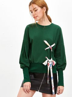 Shop Green Bishop Sleeve Sweatshirt With Eyelet Lace Up Detail online. SheIn offers Green Bishop Sleeve Sweatshirt With Eyelet Lace Up Detail & more to fit your fashionable needs.