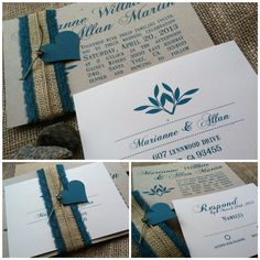 Wedding Invitation - RUSTIC - Modern - Marianne Collection - Teal - Burlap - Lace - Hemp - Custom - Recycled - Eco Friendly