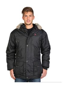 Men's jacket - zip and buttons fastening - 100% polyester - jacket with hood and faux fur - four external pockets, three - Jacket men achem man Black