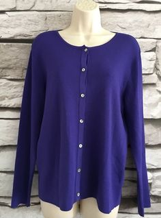 Chico's Design Rayon Cardigan Button-up Sz 1 Sm Purple Lightweight Trendy Career  | eBay