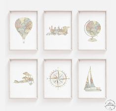 Travel Nursery Decor Adventure Nursery Wall Art Hot Air | Etsy