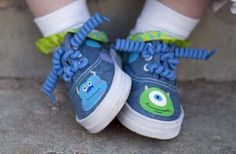 Monsters Inc inspired Sulley and Mike hand painted denim shoes with or without sparkles n dots for boys - girls infant -toddler shoes via Etsy