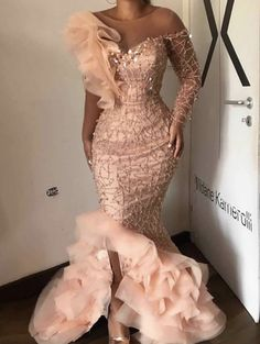 Elegant Sparkle Beaded Mermaid Evening Dresses Ruffles One Shoulder Sequined Long Prom Gowns Sexy Party Dress Robe de soiree African Lace Styles, African Lace Dresses, Latest African Fashion Dresses, African Print Fashion, Africa Fashion, Long Prom Gowns, Long Evening Gowns, Mermaid Evening Dresses, Nigerian Lace Dress