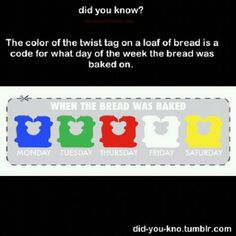 Buy the freshest Bread by the color of the tag or twist tie!!  Monday- Blue  Tuesday- Green  Thursday- Red  Friday- White  Saturday- Yellow