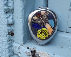 Mosaic Yellow Rose Butterfly Stained Glass by PiecesofhomeMosaics, $35.00