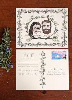 woodland wedding invitation - rsvp - tenn hens - portrait