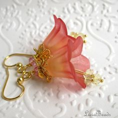 Peachy Pink trumpet flower dangle earrings with swarovski crystals and lemon quartz gemstones