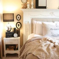 Another great repurposed fire place mantel as head board!