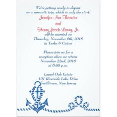 Tying the Knot Cruise Ship Wedding Invitations Beach wedding