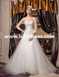 A-line Princess Scoop Sweep/Brush Train Tulle 2016 Wedding Dress