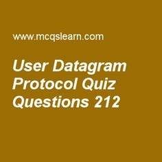 Learn quiz on user datagram protocol, computer networks quiz 212 to practice. Free networking MCQs questions and answers to learn user datagram protocol MCQs with answers. Practice MCQs to test knowledge on user datagram protocol, authentication protocols, bridges, stream control transmission protocol (sctp), icmp worksheets.  Free user datagram protocol worksheet has multiple choice quiz questions as port number used by process running on destination host is called, answer key with…