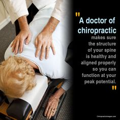 """""""A doctor of chiropractic makes sure the structure of your spine is healthy and aligned properly so you can function at your peak potential. Chiropractic Wellness Center, Chiropractic Quotes, Doctor Of Chiropractic, Chiropractic Office, Family Chiropractic, Advanced Chiropractic, Health And Wellness, Health Care, Health Goals"""