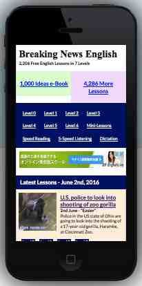 An ESL lesson on Mobile Friendly Website  - Breaking News English good to go on mobile devices