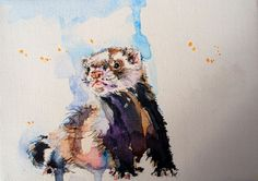 Ferret. Commission for Dolores. Watercolor on canvas