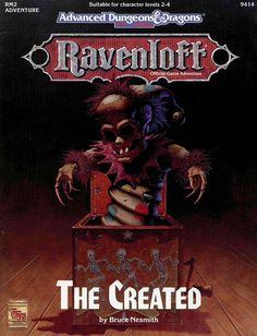 RM2 The Created (2e) - Ravenloft | Book cover and interior art for Advanced Dungeons and Dragons 2.0 - Advanced Dungeons & Dragons, D&D, DND, AD&D, ADND, 2nd Edition, 2nd Ed., 2.0, 2E, OSRIC, OSR, d20, fantasy, Roleplaying Game, Role Playing Game, RPG, Wizards of the Coast, WotC, TSR Inc. | Create your own roleplaying game books w/ RPG Bard: www.rpgbard.com | Not Trusty Sword art: click artwork for source