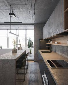 Kitchen Room Design, Modern Kitchen Design, Home Decor Kitchen, Kitchen Interior, Interior Design Living Room, Design Room, Apartment Kitchen, Kitchen Ideas, Interior Decorating