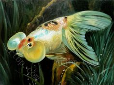 Famous Realism Art | wall art decoration Bathroom background High quality Goldfish Realism ...