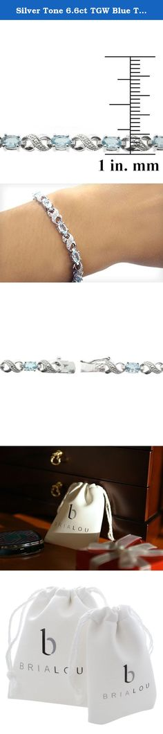 """Silver Tone 6.6ct TGW Blue Topaz & Diamond Accent Infinity Bracelet. This attractive bracelet represents your everlasting relationship with the infinity links it showcases. The infinity design is separated by oval blue topaz stones. One genuine diamond is pave set in the midst of dotted pave detailingâ€TMs; simulating shimmering stones. The bracelet is secured by a box tongue with a safety latch. Diamond has less than 17 facets. Bria Lou = """"Every Day, Inspired"""". """"Every Day"""" as in just…"""
