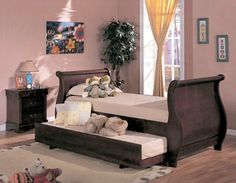 Coast2Coast Fine Furniture #3976N Brown Daybed Sleigh Bed With Trundle Included (Mattresses Are Available But Not Included In Price) at Full House Furniture and Mattress Warehouse-Missoula, MT Mattress Store, Stores, #1 Place To Save On Furniture and Mattress Sets Robert Michael sectionals, sofas, and much more