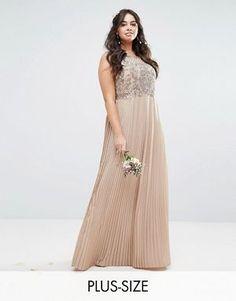 Maya Plus Embellished Bodice Maxi Dress With Pleated Skirt