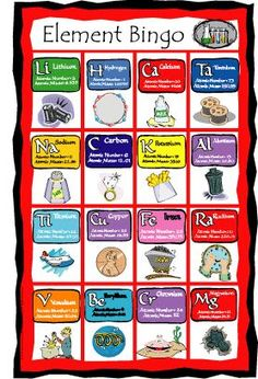 Science, Nature, and Seasonal Bingo Games - UnCommon Courtesy Teaching Chemistry, Science Chemistry, Physical Science, Science Fair, Science Lessons, Science Education, Science For Kids, Science Activities, Element Chemistry