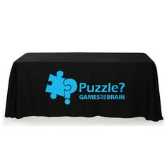 Check out this customizable product from www.totallypromotional.com/table-covers/6ft-table-covers/6-throw-style-3-sided-one-color-table-cover.html