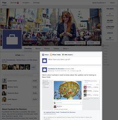 Facebook anuncia novo layout para páginas de fãs no desktop  Na semana passada, o Facebook apresentou alterações em seu news feed, que devem chegar a todos os usuários em até 30 dias.  Segundo o post, a atualização no visual facilitará a busca por informações e ferramentas mais utilizadas, tanto para usuários quanto para administradores.   A linha do tempo ficou mais estreita, porém as fotos dos posts estão maiores, assim como os links.