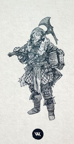 Lady dwarf fighter. I like my lady dwarves to have beards, I like the challenge of putting in a beard whilst keeping it feminine.