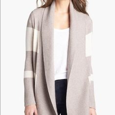 CALSON Shawl Collar Open Front Cardigan Pre-owned cardigan with beige and white colors Calson Sweaters Cardigans