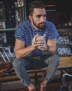 moustach, beard, t shirt stripes