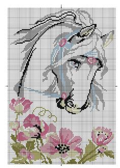 Discover thousands of images about Horse, free cross stitch patterns and charts - www. Cross Stitch Horse, Beaded Cross Stitch, Cross Stitch Animals, Cross Stitch Flowers, Cross Stitch Charts, Cross Stitch Designs, Cross Stitch Embroidery, Cross Stitch Patterns, Horse Flowers