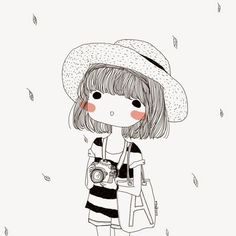 ▷ 1001 + images for girl drawing – ideas for developing your creativity – Archzine ENG ▷ 1001 + images for girl drawing – ideas for developing your creativity black and white sketch, girl holding a camera, short hair and a hat, cute drawing ideas Illustration Mignonne, Illustration Girl, Illustration Fashion, Portrait Illustration, Art Illustrations, Fashion Illustrations, Art Mignon, Plant Drawing, Cute Drawings