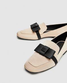 MOCASSINS À NŒUD Cheap Fashion, Fashion Shoes, Zara, Shoe Boots, Shoe Bag, Bow Flats, Loafers For Women, Beautiful Shoes, Casual Shoes