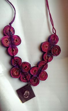 https://flic.kr/p/DPx7g8 | IMAG0127-2 | Beautiful purple necklace made of recycled paper beads