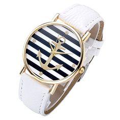 JSDDE Uhren,Vintage Damen Zebrastreifen Riefe Schiffer Anker Design Armabnduhr, M?dchen Analog Quarzuhr Damenuhr,wei? Lederarmband ,Top Geschenk JSDDE http://www.amazon.de/dp/B00O1PE6IC/ref=cm_sw_r_pi_dp_xajDvb0H06VS5