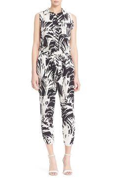 Parker Palm Print Silk Sleeveless Jumpsuit