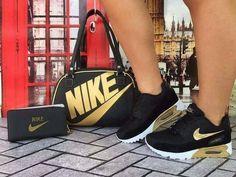 Nike shoe and Bag - DiyForYou Gold Nike Shoes, Nike Gold, Cute Sneakers, Cute Shoes, Shoes Sneakers, Women's Shoes, Nike Fashion, Sneakers Fashion, Fashion Shoes