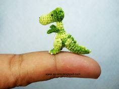 Tiny Green Tyrannosaurus - Dollhouse Miniature Dinosaurs - One Inch Scale - Micro Crochet Dinosaur - Made To Order  -so amazing!