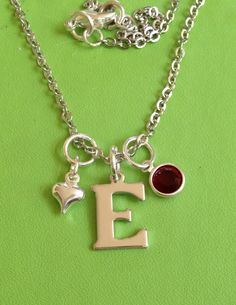 Initial E and Crystal Birthstone Silver Necklace by joytoyou41