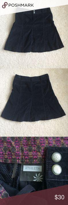 "⚡️SALE⚡️Black Athleta corduroy skirt Athleta skirt• Black• Sz 2 • corduroy • paneled flare • excellent condition •  18"" long • sits above the knee • great buy! Athleta Skirts A-Line or Full"