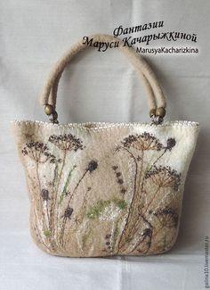 """Женские сумки ручной работы. Ярмарка Мастеров - ручная работа. Купить сумка """" сухоцветы"""". Handmade. Бежевый, сумка войлочная"""