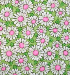 pink and green daisy fabric
