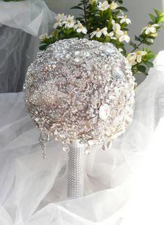 All silver brooch bouquet Silver Brooch, Bouquet, Vase, Wedding, Home Decor, Valentines Day Weddings, Decoration Home, Bunch Of Flowers, Hochzeit